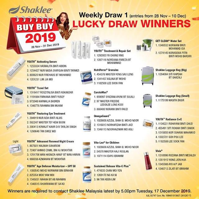 Pemenang Lucky Draw Minggu Pertama