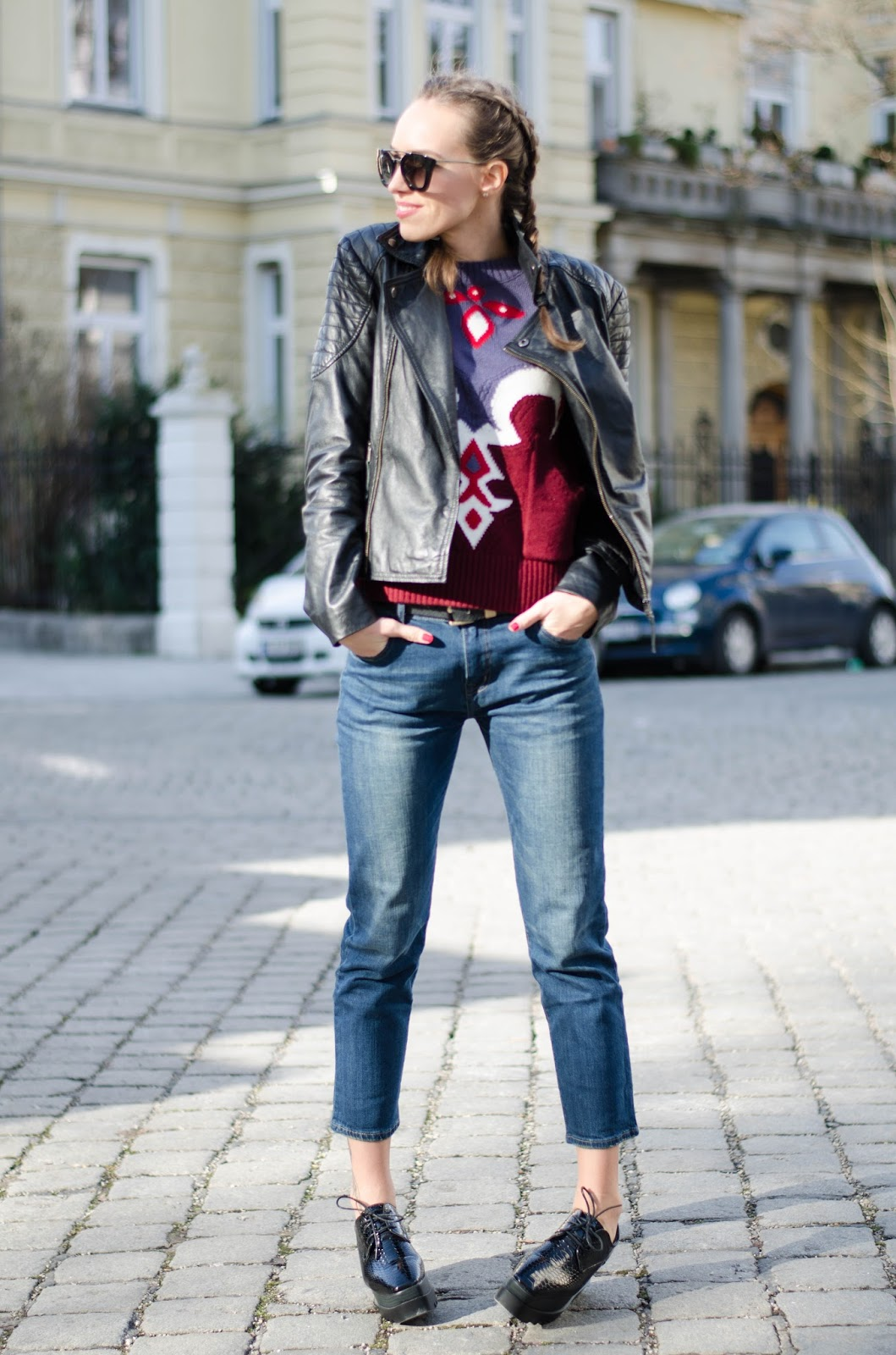 kristjaana mere leather jacket printed mom jeans flatform shoes