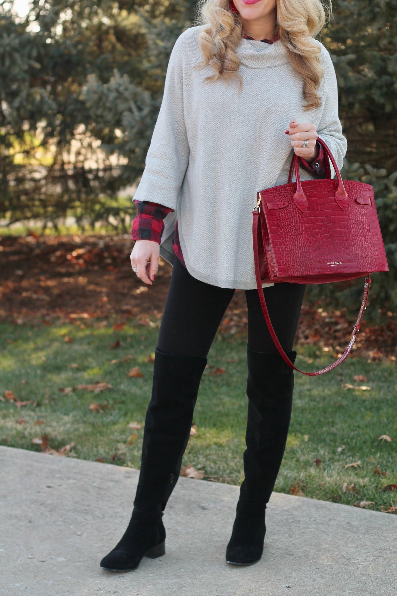winter layered outfit, red buffalo plaid button up, aventura sonata grey poncho, OTK black boots, burgundy teddy blake bag, black leggings