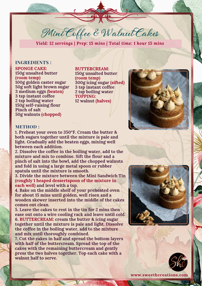 MINI COFFEE & WALNUT CAKES RECIPE