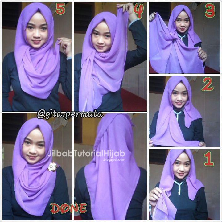 Tutorial Hijab Segi Empat untuk Sehari-hari | Jilbab ...