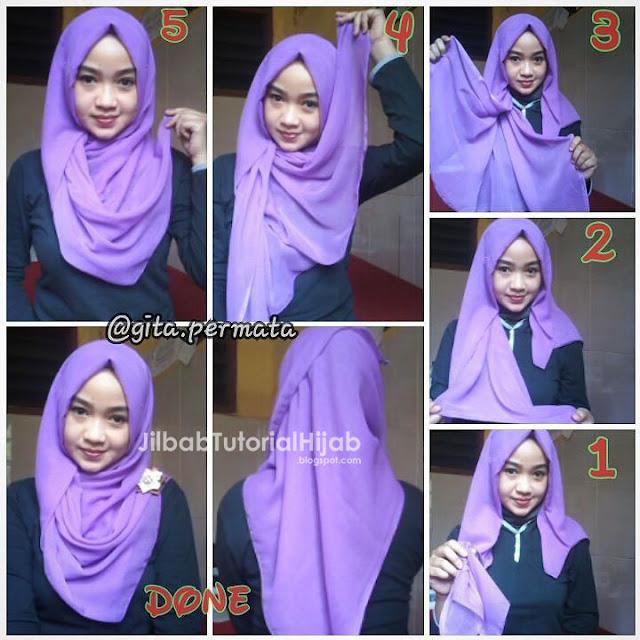 Tutorial Hijab Segi Empat untuk Sehari-hari sederhana dan modis