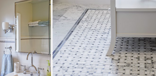 Rambling Renovators | new traditional bathroom black white marble floor subway tile