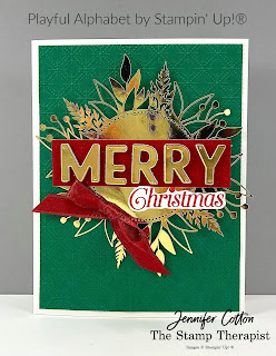 Christmas card with Stampin' Up!®'s Playful Alphabet dies!  See blog for video & supply list.  #StampinUp #StampTherapist