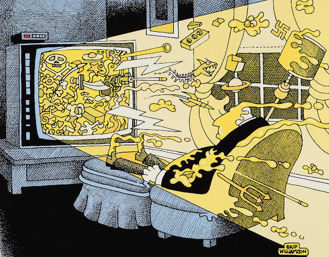 a Skip Williamson cartoon showing a television spewing things out at a viewer in his chair