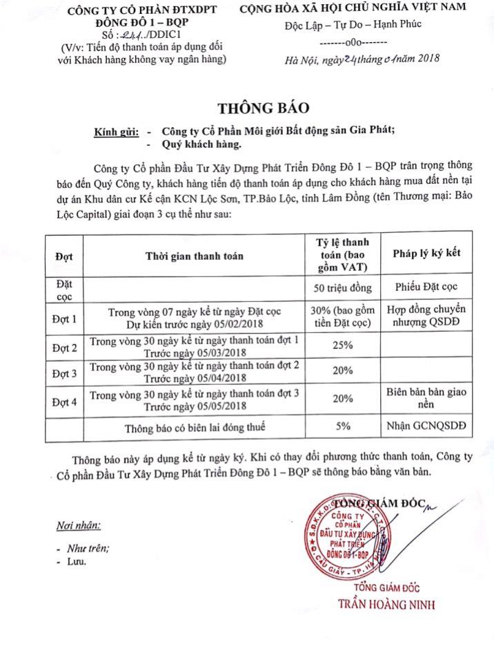 Phương thức thanh toán dự án Bảo Lộc Capital