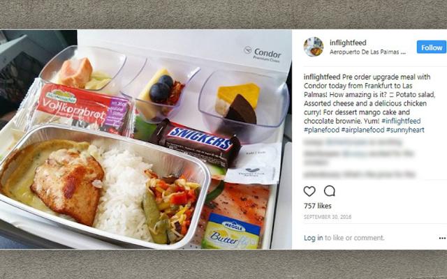 Menu Makanan di dalam Pesawat Condor