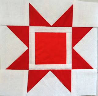 Red Sawtooth star foundation paper piecing