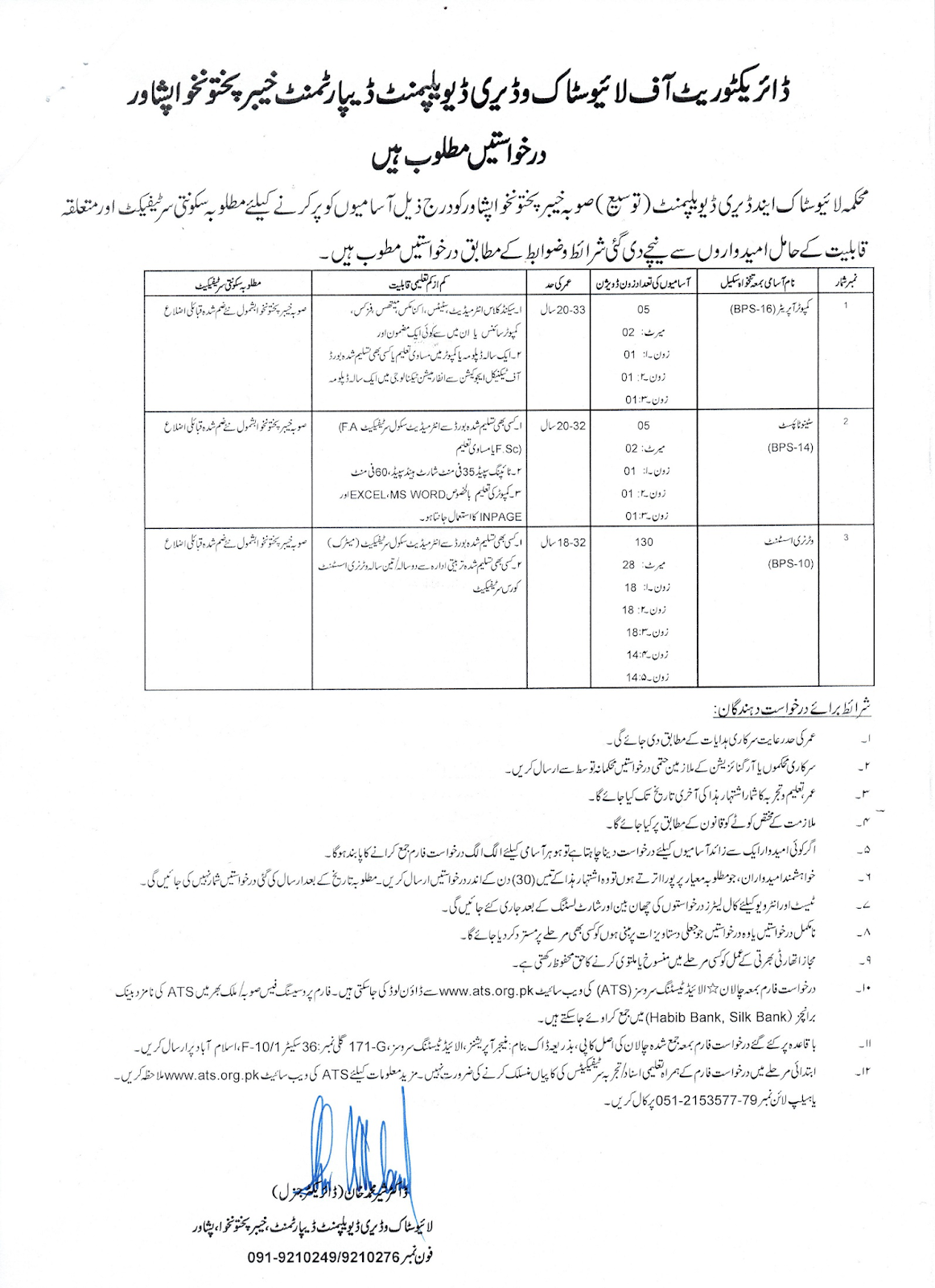 ATS Jobs in Directorate of Livestock and Dairy Development Department KPK Latest advertisement 2019