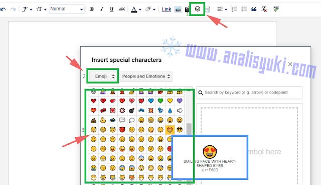 Cara Menambahkan Emoji dan Symbol di Postingan Blogger