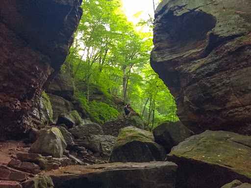 The Trail into Parfrey's Glen becomes difficult further into the glen hikers must walk through the stream