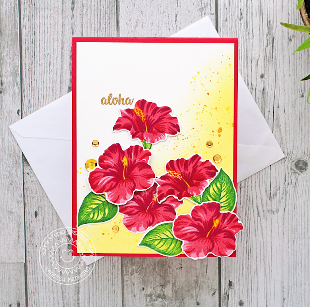 Sunny Studio Stamps: Hawaiian Hibiscus Botanical Backdrop Everyday Greetings Floral Cards by Vanessa Menhorn and Anja Bytyqi