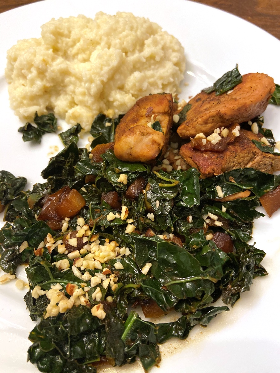 Gobble meals kale and pork