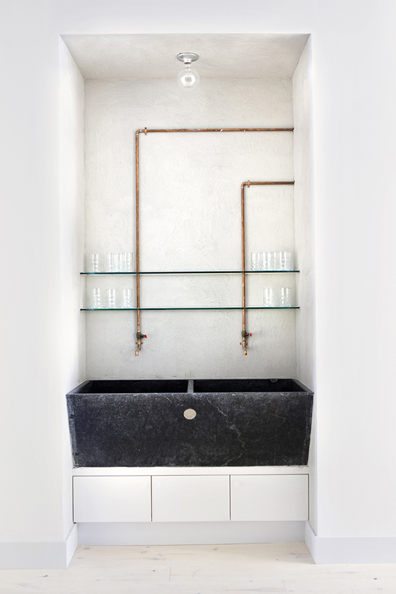 Handmade copper pipe faucets. Tenoverten Nail Salon by Studio DB