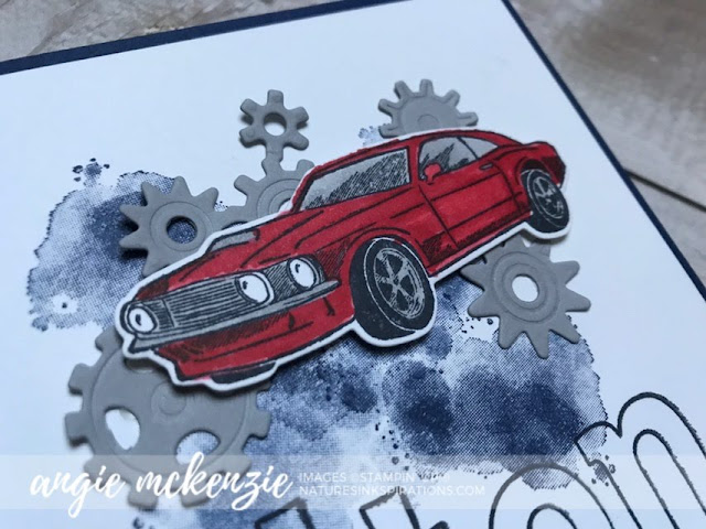 By Angie McKenzie for Global Creative Inkspirations; Click READ or VISIT to go to my blog for details! Featuring the Geared Up Garage Stamp Set and Garage Gears Dies along with the Lined Alphabet, A Big Thank You, Enjoy Life and Capture the Good Stamp Sets; #gearedupgarage #inspiredbyfamily #cars #stampinupinks  #cardsforteenagers #cardsforkids #encouragementcards #cardtechniques #coloringwithblendsmarkers