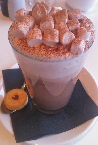 The Rose Garden - Hot Chocolate with Jammy Dodger