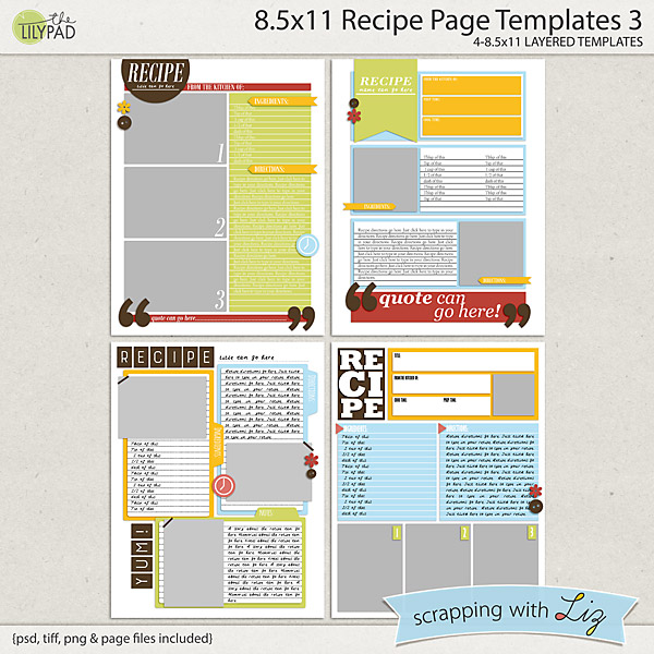 scrapping with liz new recipe card and recipe page templates