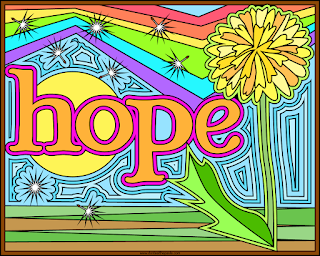 Hope on a rainbow background with dandelion and dandelion fluff