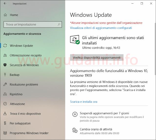 """Windows 10 schermata di Windows Update con """"Aggiornamento delle funzionalità a Windows 10, versione 1909"""""""