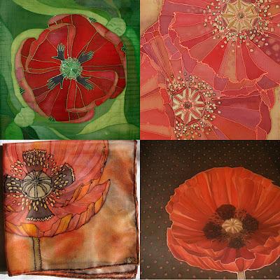 Four silk paintings, silk scarves with poppies / keturi šilko tapybos darbai su aguonomis, tapyban ant šilko, šilko šalikėliai, aguonos
