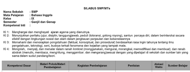 Silabus Bahasa Inggris Smp Mts Kelas 9 Semester Ganjil Kurikulum 2013 Tahun Pelajaran 2020 2021 Didno76 Com
