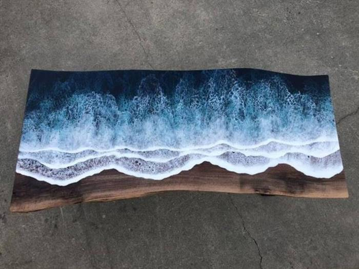 A 'living' sea figure on a coffee table made by artist Rivka Wilkins and carpenter Jared Davis