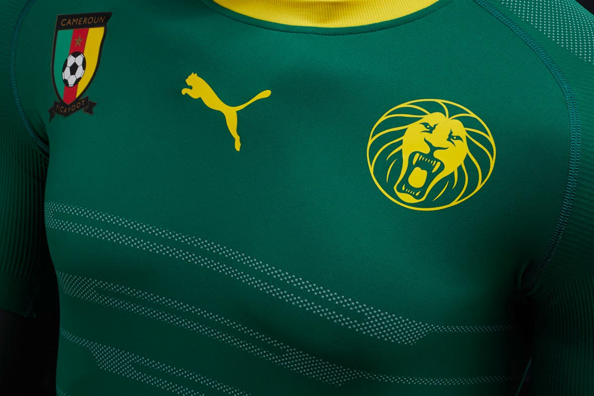 cameroon 2016 home shirt boasts a simple and almost one colored design the puma logo placed in the upper center of the new cameroon kit - Yellow Home 2016