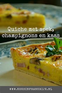 Recept voor quiche met  champignons en zelfgemaakte bodem.