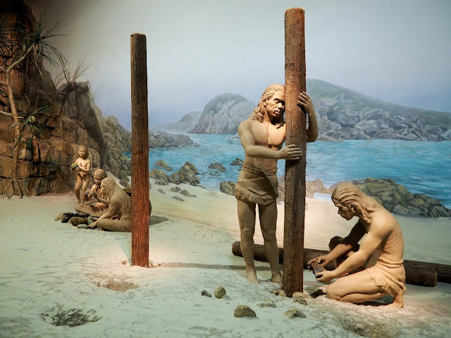 Neanderthals on display in the prehistoric exhibit of the Hong Kong Museum of History