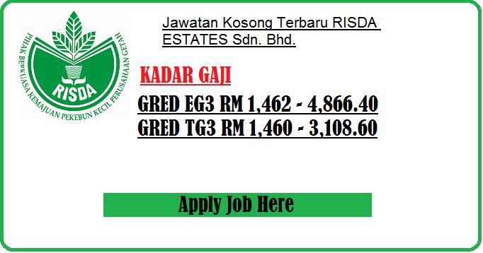 Jawatan Kosong Terbaru RISDA ESTATES apply job here