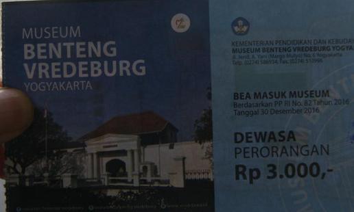 Tiket masuk Benteng Vredeberg Yogyakarta