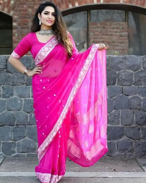 Pure Georgette Chiffon khaddi silver zari colourfull sarees