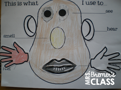 A post with tons of 5 Senses activities for Kindergarten- love the Potato Head craft!