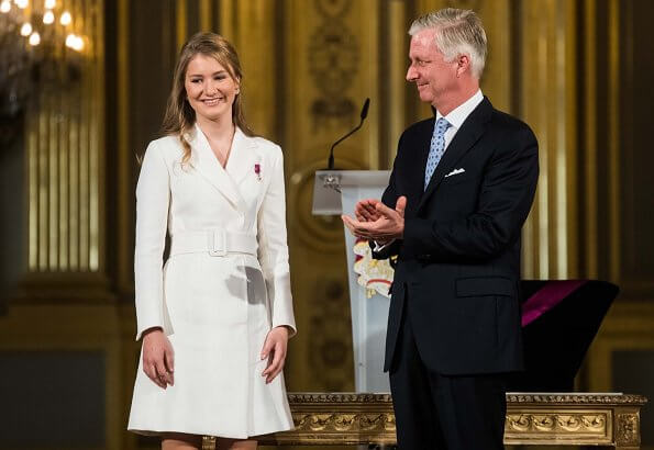 Princess Elisabeth, Duchess of Brabant is the eldest of King Philippe and Queen Mathilde. Grand Cordon of the Order of Leopold. Natan dress
