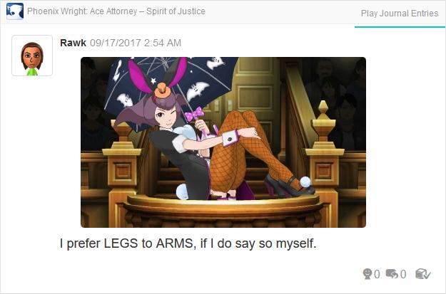 Phoenix Wright Ace Attorney Spirit of Justice Bonny de Famme legs