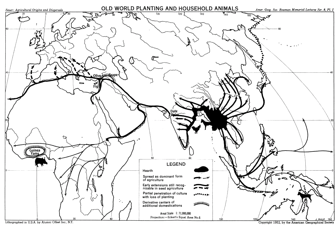 Cryptoforestry: Carl Sauer's maps on agricultural origins