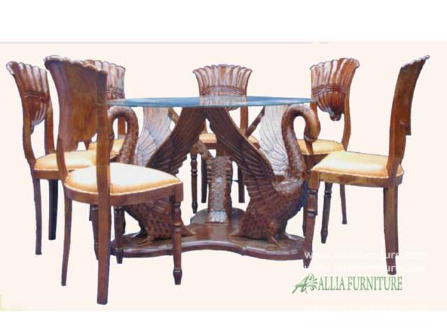 meja kursi makan ukiran model angsa