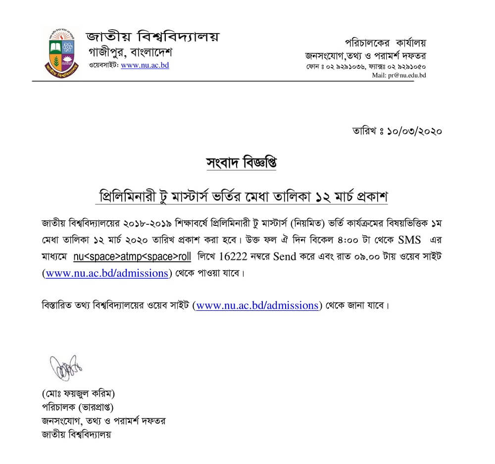 Masters Admission Result 2020