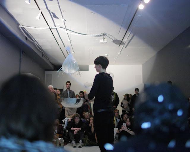Marita Bullmann in performance, March 25, 2017, Defibrillator Gallery