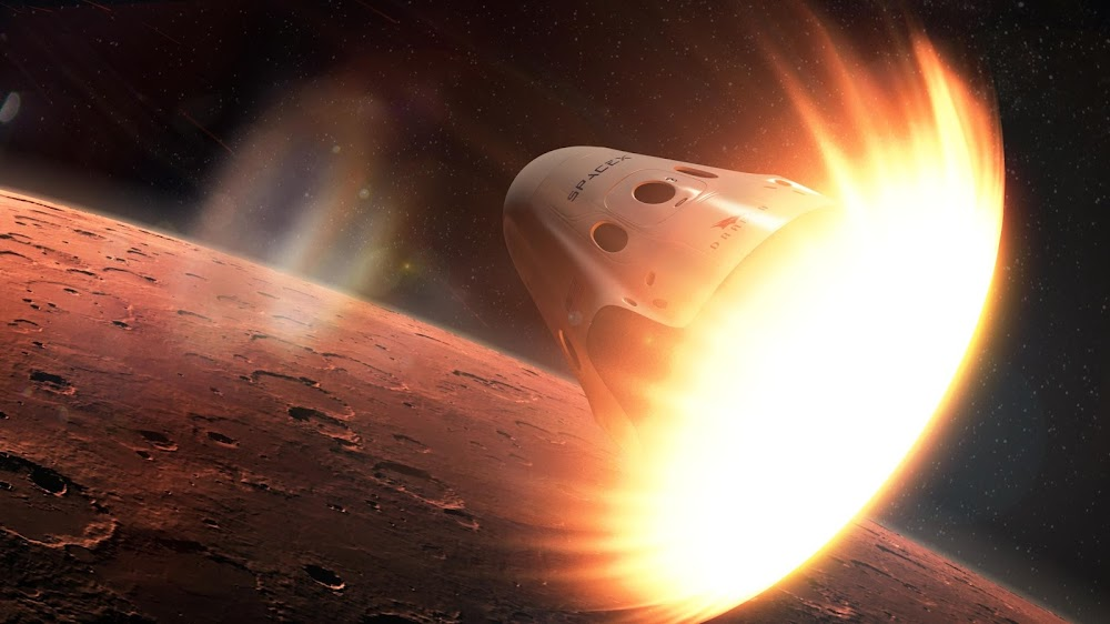SpaceX Red Dragon entering Mars' atmosphere by Chris Monson