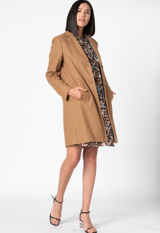 Palton dama camel din amestec de lana virgina Mae O Polo original