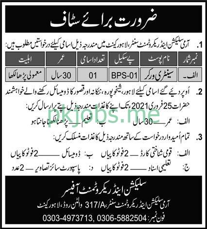 Latest Pakistan Army Selection & Recruitment Centre Posts 2021