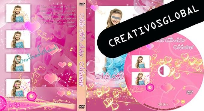 Plantilla psd para crear portada dvd para 15años color rosado