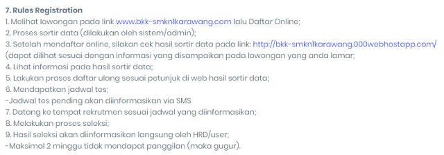 Aturan saat mendaftar di BKK SMKN 1 Karawang