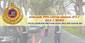 Diskaun Saman JPJ/ AES/ SPAD Sebanyak 70% - Sepanjang Bulan Ogos Ini