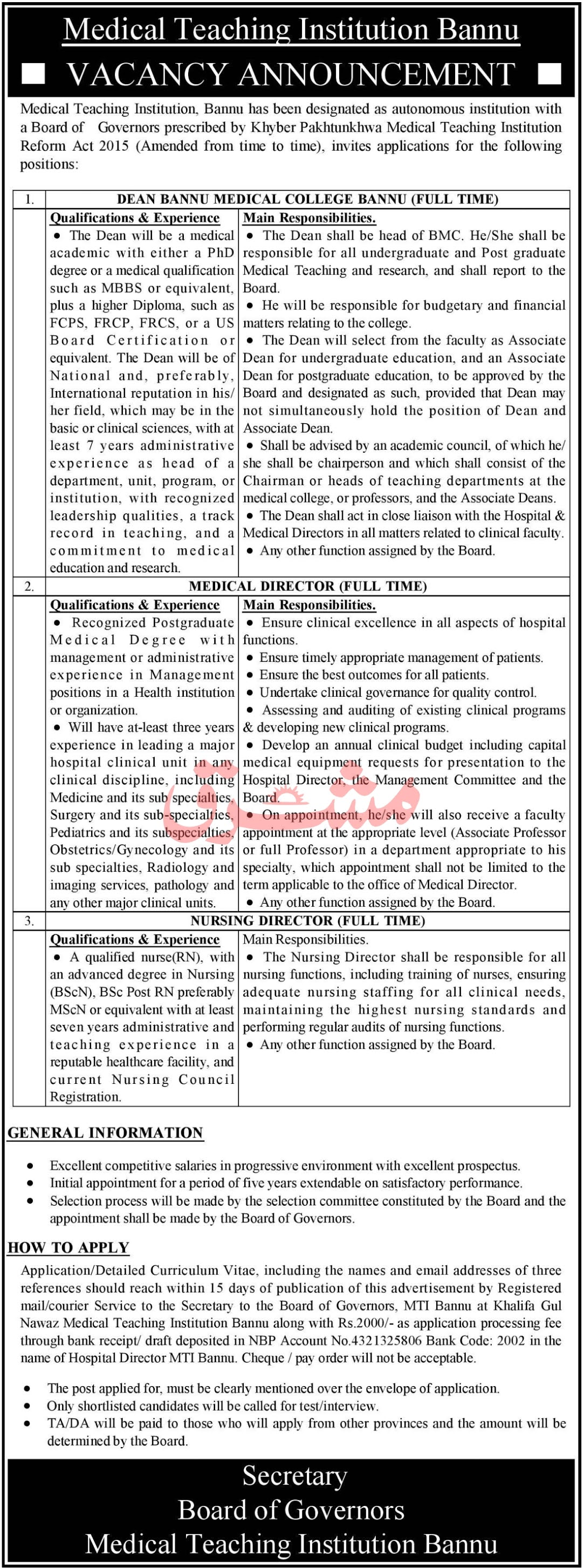 Medical Teaching Institution Bannu Jobs 2021 in Pakistan