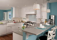 Pleasing look timeless kitchen ideas with turquoise color wall and white subway backsplash tiles gray countertops also white lovely bar stools