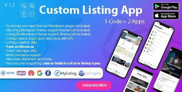 Custom Listing App- Directory Android and iOS mobile app with Ionic 5 for MyListing ListingPro