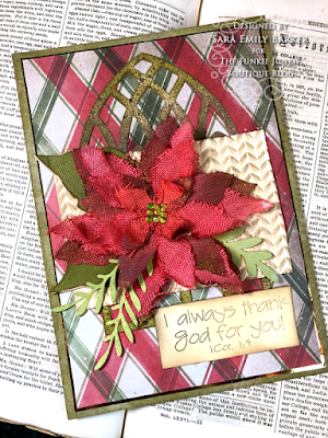 Sara Emily Barker https://sarascloset1.blogspot.com/2020/11/i-always-thank-god-for-you.html #timholtz #sizzix #catherdralwindow #knitted3Dembossing #elegant poinsettia Mixed Media Card 1