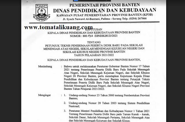 Juknis PPDB SMAN SMKN Provinsi Banten Tahun Pelajaran 2021/2022 PDF (Resmi)